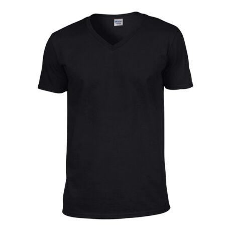 35af27b53 Gildan Softstyle V-nyakú póló (S, fekete)