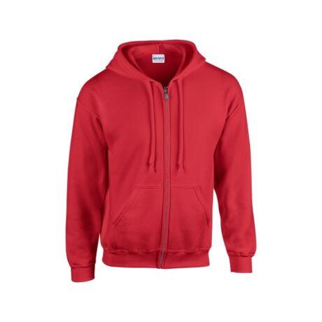 Gildan FullZipp cipzáras kapucnis pulóver (2XL, piros)